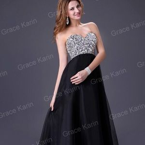 Grace Karin Black Gown/Bridesmaid Dress